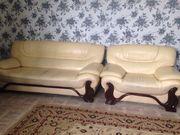 СРОЧНО продам кожаный б/у диван + кресло,  кожа натуральная и мягкая.